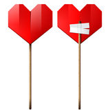 Red heart on a wood stick Stock Photo