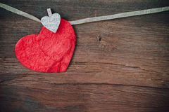 Red heart on wooden background. Stock Photography