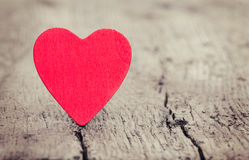 Red heart on wooden background Royalty Free Stock Photography
