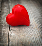 Red Heart On Wooden Background. Love and  Valentines Day. Vignet Stock Image
