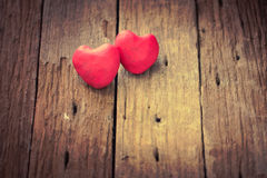 Red Heart on wooden Stock Photography