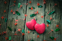 Red Heart on wooden royalty free stock photography