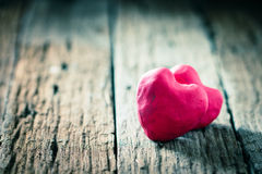 Red Heart on wooden Royalty Free Stock Photo