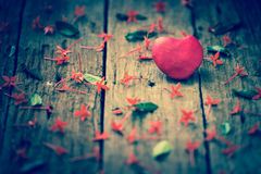 Red Heart on wooden Royalty Free Stock Images