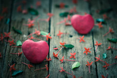Red Heart on wooden Royalty Free Stock Photos