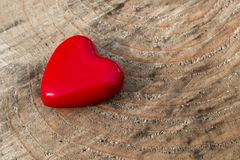 Red heart on a wooden background Stock Photography