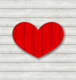 Red heart on wooden background for Valentine Day Royalty Free Stock Image