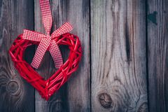 Red heart on a wooden background for valentine day Royalty Free Stock Image
