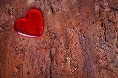 Red heart on wooden board Royalty Free Stock Photo