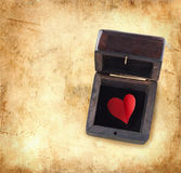 Red heart in a wooden box Stock Photo