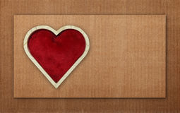 Red heart wooden shaped on cardboard stock illustration