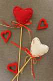 Red heart on wooden stick. Colored  beautiful Stock Photography