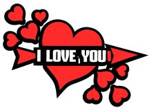 Red heart with word I love you isolated Royalty Free Stock Photo