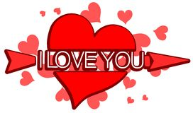 Red heart with word I love you isolated Royalty Free Stock Images