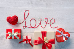 Red heart, Word Love and Valentines Day gifts Royalty Free Stock Image