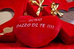 Red heart with words of love in italian language Royalty Free Stock Images