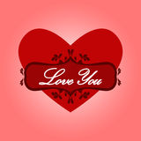 Heart with words love you. Stock Photos