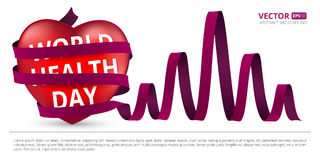 Red heart wrapped with a satin ribbon as heartbeat to the world health day. Royalty Free Stock Image