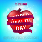 Red heart wrapped with a satin ribbon to the world health day. Royalty Free Stock Photography