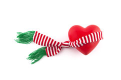 Red heart wrapped in a scarf Royalty Free Stock Photography