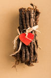 Red Heart on Wrapped Twigs Royalty Free Stock Photography