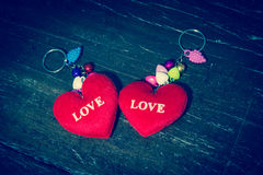 Red Heart write the word love. Royalty Free Stock Photography