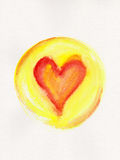 Red heart in yellow circle frame watercolor painting Royalty Free Stock Photography