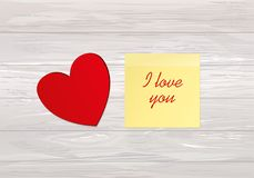 Red heart. Yellow sheet of paper for notes. Sticker. Empty space. For your ad or inscriptions or messages. Valentine`s wedding and birthday. Free place. Vector Royalty Free Stock Photo