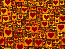 Red heart on yellow squares seamless background pattern Stock Photos