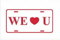 Red We Heart You License Plate. Illustration with white background and red lettering Royalty Free Stock Image