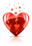 Red heart with young teens couple kissing. Vector illustration Stock Image