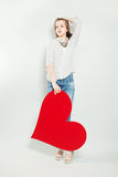 Red Heart and Young Woman Royalty Free Stock Photos