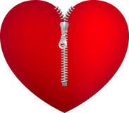 Red heart with zipper Stock Image