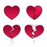 Red heart break love broken royalty free illustration