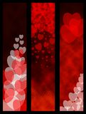 Red hearted banners stock photos