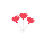 Red hearth shaped balloons. Balloons in the shape of heart flat icon, mother`s day, love vector graphics, a colorful solid pattern on a white background, eps 10 Stock Illustration