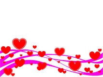 Red hearts. Vector illustration of hearts and waves Royalty Free Stock Photos