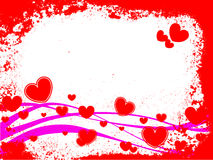 Red hearts. Vector illustration of hearts and waves on a grunge background Royalty Free Stock Photo