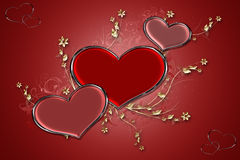 Red Hearts. Decorative hearts on red background with floral and swirl designs Royalty Free Stock Photo