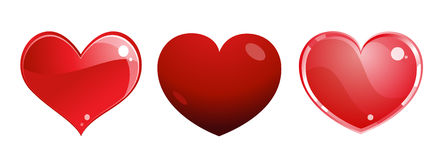 Red hearts. Three different red hearts on white background Royalty Free Stock Image