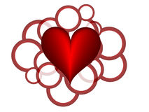 Red hearts. Abstract red hearts with red white circle Royalty Free Stock Photos