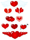 Red hearts. Illustration: set red symbols - hearts Royalty Free Stock Photos