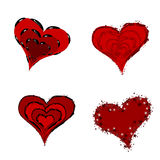 Red Hearts. Stylized red  hearts with decorative borders isolated on white Stock Photo