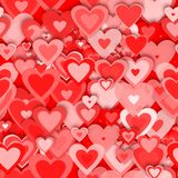 Red hearts. Seamless red hearts pattern  - computer generated  for your design Stock Photos