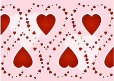 Red hearts. On a pink background Stock Photos