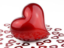 Red Hearts. Big red heart with many small hearts on white Royalty Free Stock Photo