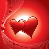 Red hearts. On a red background Royalty Free Stock Image