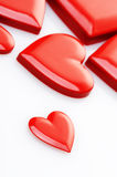 Red hearts. On white background royalty free stock photos