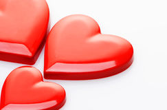 Red hearts. On white background stock photography