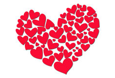 Red Hearts. Drawn by hand Royalty Free Stock Photos
